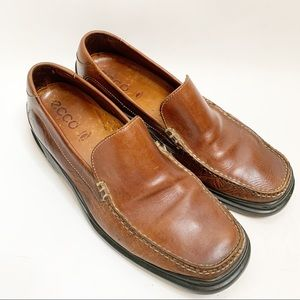 Ecco Men's Loafers Leather Brown Size 46